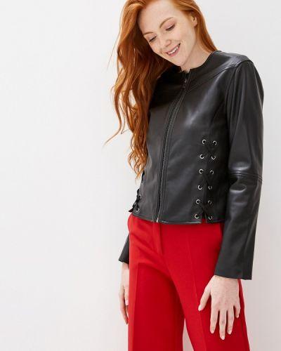 Кожаная куртка черная осенняя Sisley
