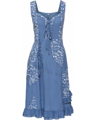 Джинсовое платье на бретелях с оборками Bonprix