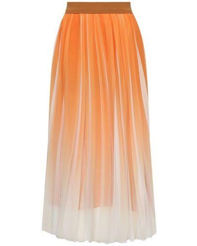 Оранжевая плиссированная юбка Boss