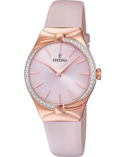 Водонепроницаемые часы на кожаном ремешке розовый Festina
