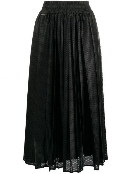 С кулиской с завышенной талией черная юбка миди Moncler