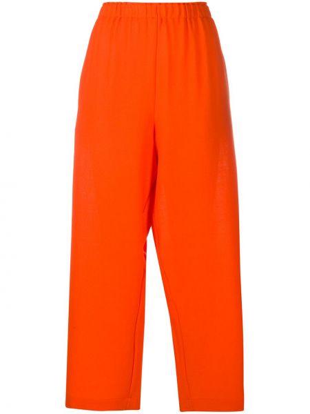Шерстяные оранжевые укороченные брюки с поясом свободного кроя Daniela Gregis