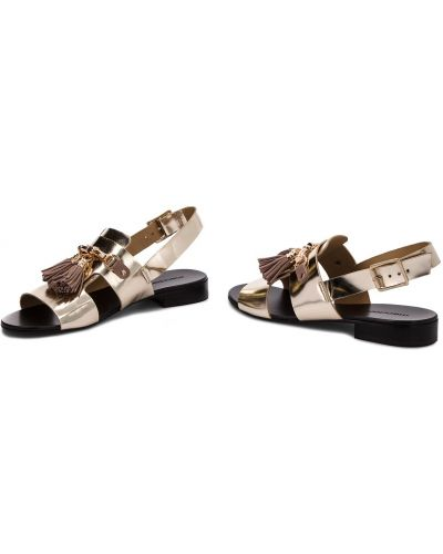 Босоножки на каблуке - золотые Maccioni