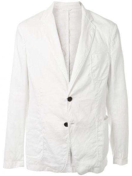 Однобортный белый удлиненный пиджак с воротником Giorgio Armani