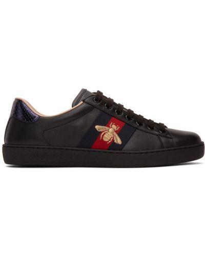 Skórzany czarny skórzane sneakersy na sznurowadłach okrągły Gucci
