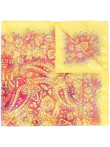 Желтый шелковый платок квадратный Hermes