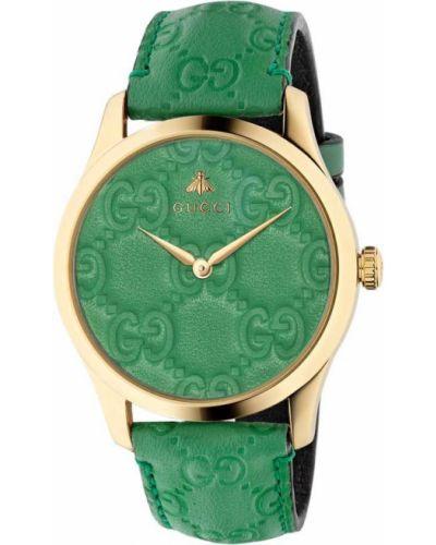 Зеленые с ремешком кожаные часы на кожаном ремешке Gucci