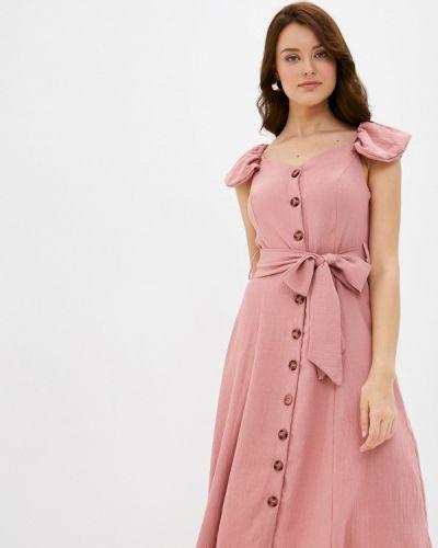 Прямое розовое платье Trendyol