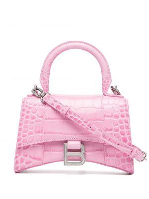 Розовая кожаная сумка на плечо с тиснением Balenciaga