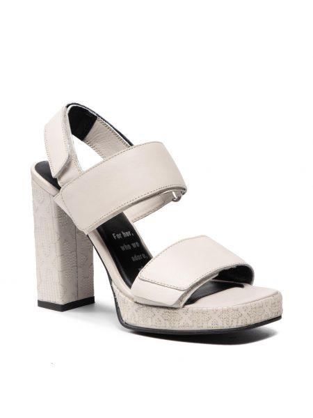 Sandały skórzane - białe Bronx