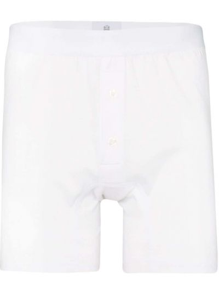 Хлопковые белые носки с поясом на пуговицах Sunspel