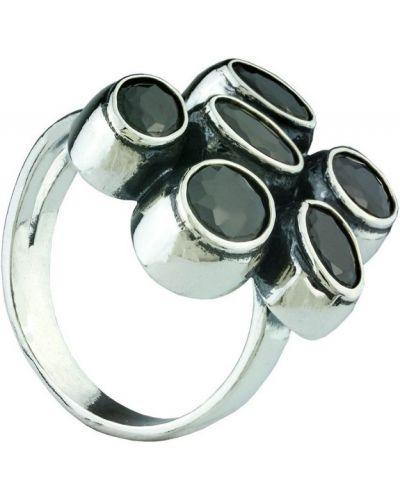 Черное кольцо с фианитом металлическое серебра