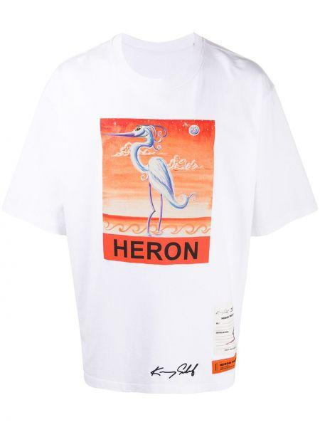 Biały bawełna prosto koszula krótkie z krótkim rękawem z haftem Heron Preston