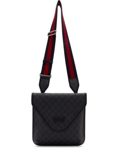 Серебряная текстильная сумка мессенджер Gucci