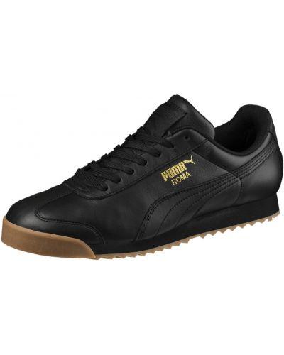 Кожаные кроссовки черные с надписью Puma