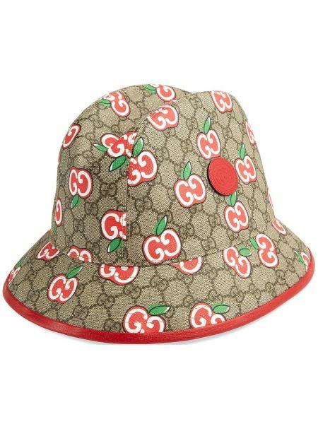 Beżowy brezentowy kapelusz fedora z łatami Gucci