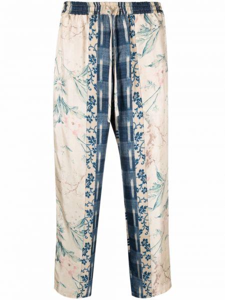 Синие брюки атласные Pierre-louis Mascia