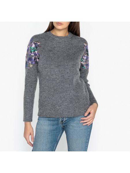 Прямой пуловер из мохера круглый в рубчик Berenice