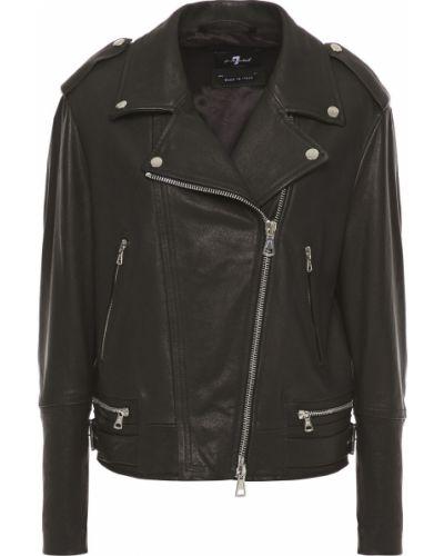 Кожаная куртка на пуговицах - черная 7 For All Mankind