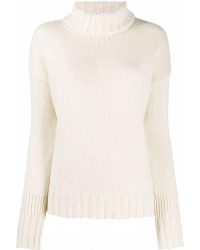 Белый кашемировый джемпер в рубчик с декоративной отделкой Aragona