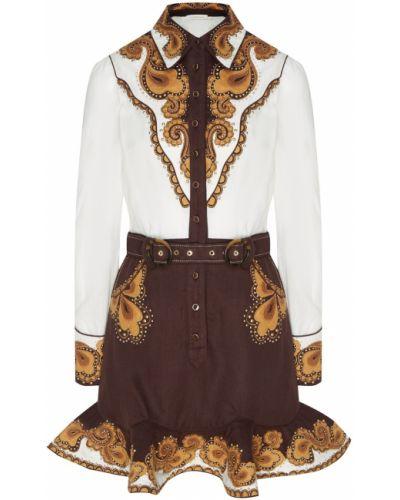 Платье мини льняное с оборками Zimmermann