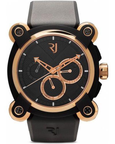 Czarny złoty zegarek mechaniczny klamry Rj Watches