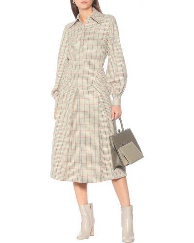 Шерстяная плиссированная юбка макси с рисунком Emilia Wickstead