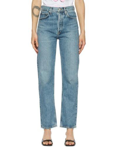 Синие прямые джинсы с карманами Agolde