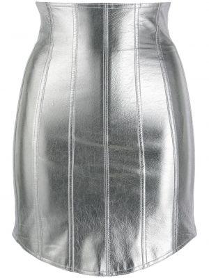 Кожаная серебряная приталенная юбка на молнии David Koma