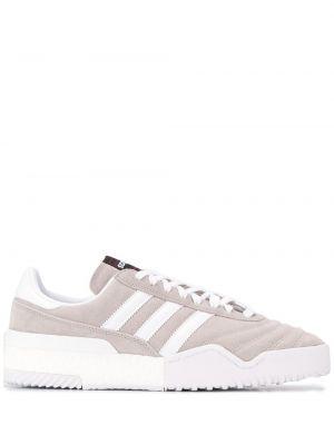 Замшевые серые кроссовки на шнуровке с заплатками Adidas Originals By Alexander Wang