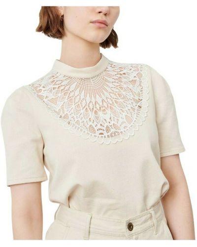 Beżowa koszulka z haftem Sessun
