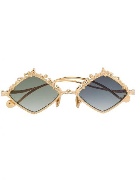 Złote okulary khaki z diamentem Anna Karin Karlsson