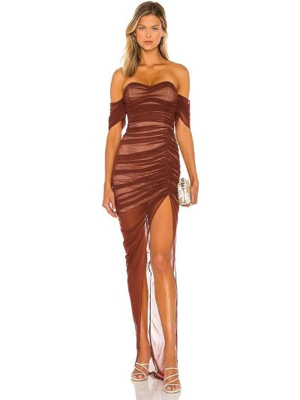 Brązowa sukienka z siateczką Nookie