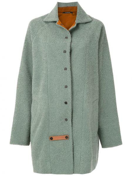 Свободное зеленое пальто классическое оверсайз à La Garçonne