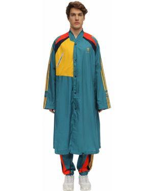 Zielony płaszcz w paski Adidas Originals Statement
