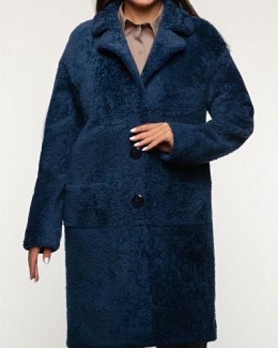 Прямое синее пальто с воротником Alcato