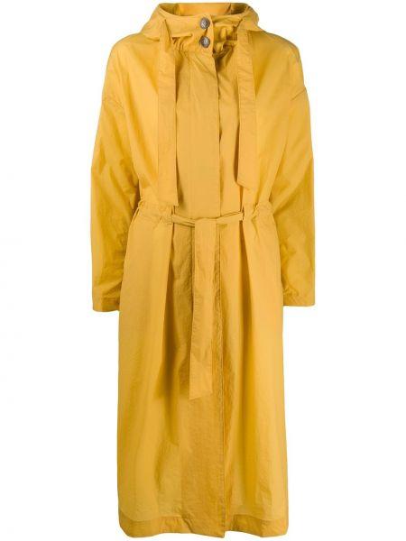 Желтая длинное пальто с капюшоном на шнурках Herno
