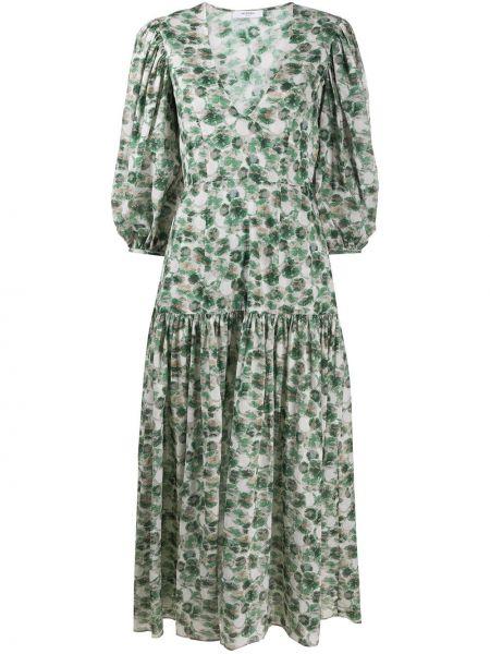 Зеленое с заниженной талией платье мини с V-образным вырезом с короткими рукавами Marysia