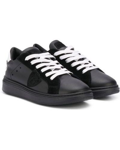 Ажурные кожаные белые кроссовки на шнурках Philippe Model Kids