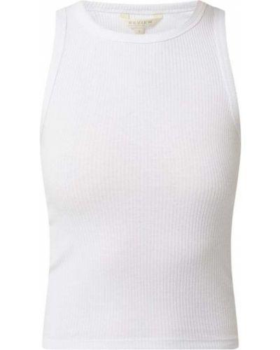 Biała koszulka prążkowana Review