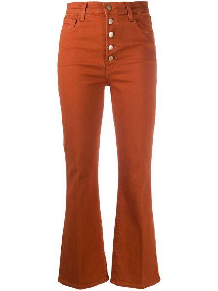 Брючные оранжевые расклешенные укороченные брюки с поясом J Brand
