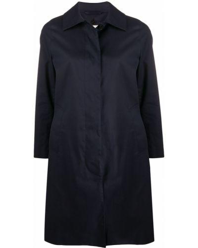 Синее шерстяное пальто классическое с воротником Mackintosh