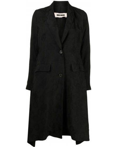 Черное длинное пальто на пуговицах с карманами Uma Wang