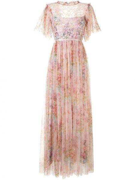 Расклешенное розовое платье макси со вставками на молнии Needle & Thread