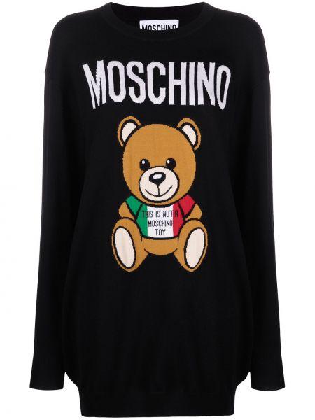 Шерстяное черное платье макси с длинными рукавами Moschino