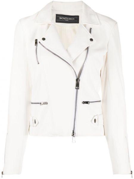 Белая кожаная куртка байкерская Simonetta Ravizza