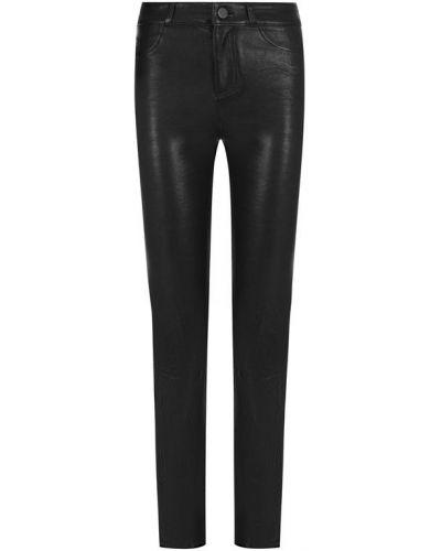 Укороченные брюки кожаные с карманами Paige