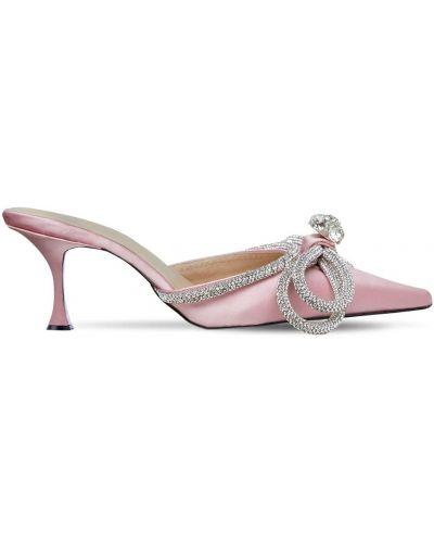 Розовые мюли на каблуке из натуральной кожи Mach & Mach