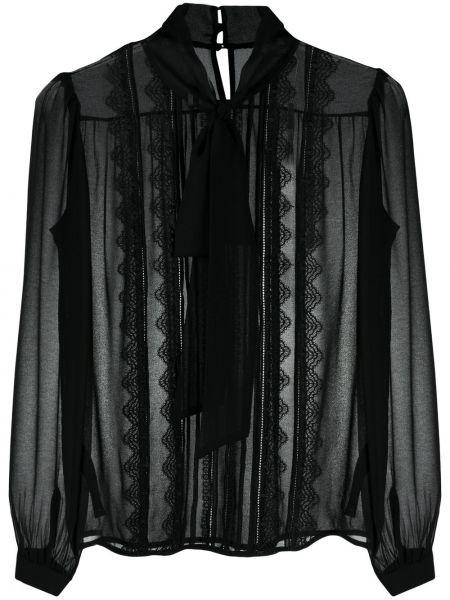 Черная кружевная шифоновая блузка Self-portrait