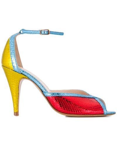 Босоножки на высоком каблуке на каблуке красный Lenora